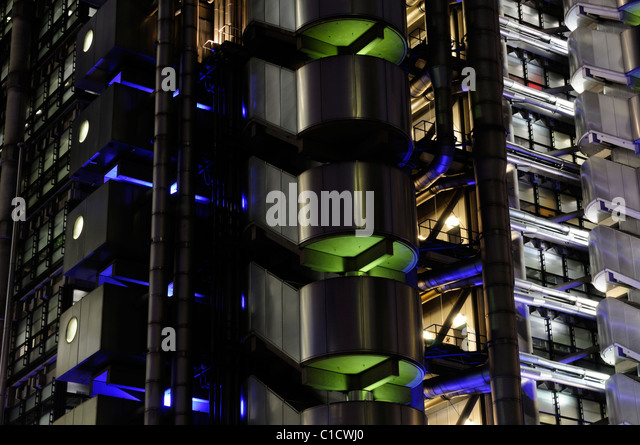 Abstract Architectural Detail of The Lloyds of London Building, Leadenhall Street, London, England, UK - Stock Image