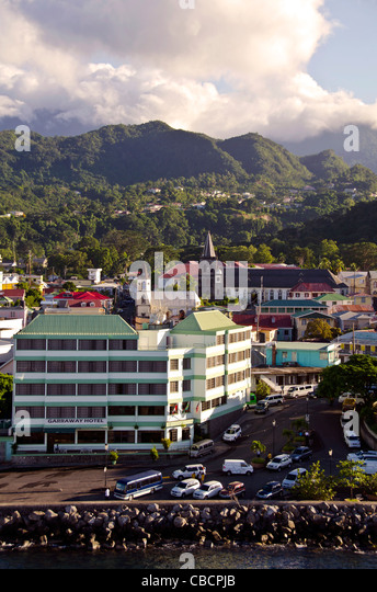 Roseau Dominica aerial group of taxis waiting at this Eastern Caribbean cruise port - Stock Image