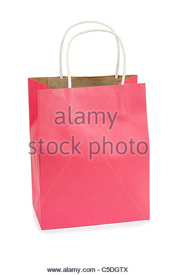 Pink shopping bag - Stock Image