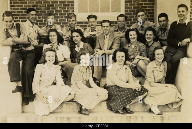 Circa 1940s photo of high school students. - Stock Image