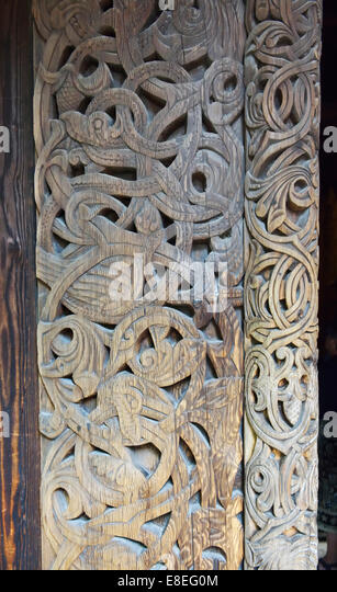 Carved wooden pillar, Gol Stavkirka c.1200, Folk/Cultural History Museum, Oslo, Norway 140820_62543 - Stock Image