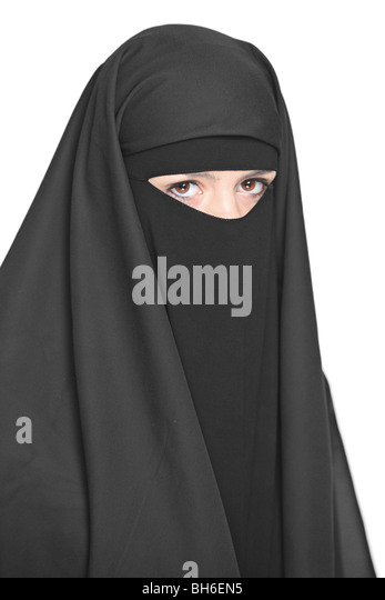 A veiled woman isolated on white background - Stock Image