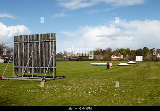 holywood cricket club pitch northern ireland - Stock Image