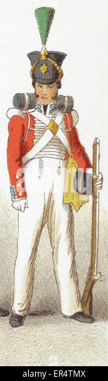 The figure represented here is an English infantry guard from the 1800s. This illustration dates to 1882. - Stock-Bilder