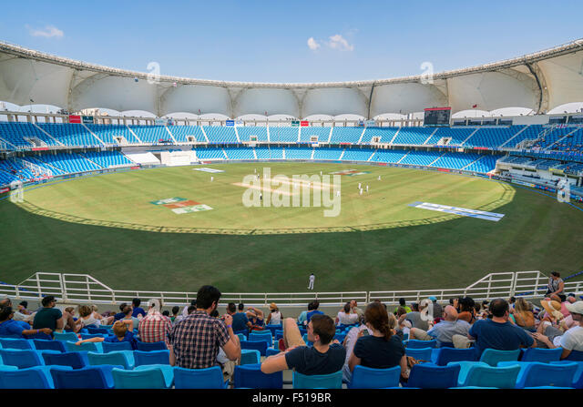 Cricket Test Match btwn England and Pakistan in October 2015 at Dubai International Cricket Stadium Dubai United - Stock Image