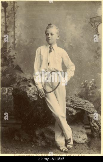Cabinet photograph of boy with tennis racquet circa 1885 - Stock-Bilder