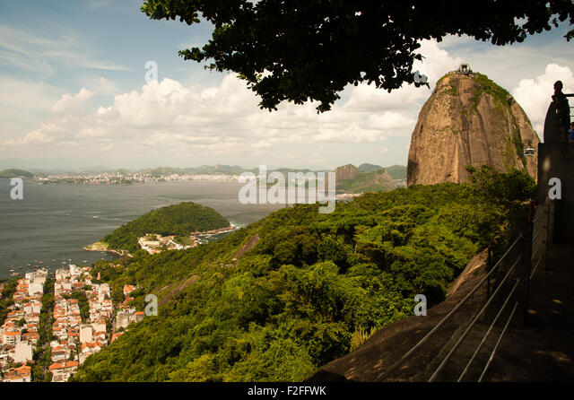 Scenic view of Sugar Loaf mountain with coastline of Rio de Janeiro city in background, Brazil. - Stock Image