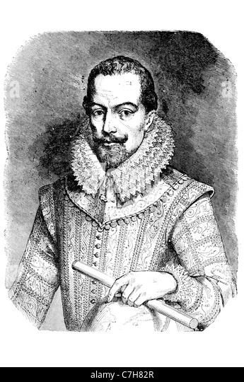 Sir Walter Raleigh portrait English aristocrat writer poet soldier courtier spy explorer tobacco England Protestant - Stock Image