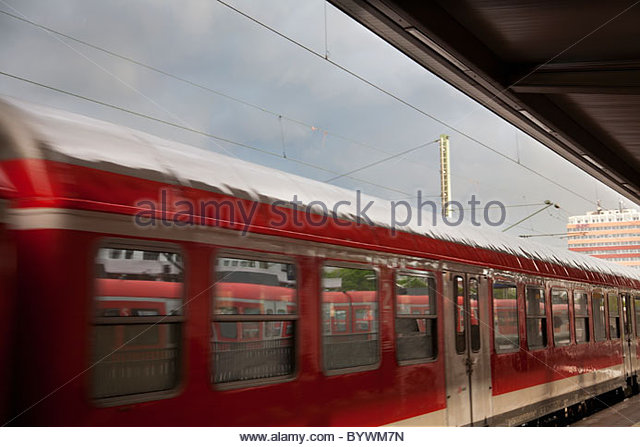 Train leaving station - Stock Image