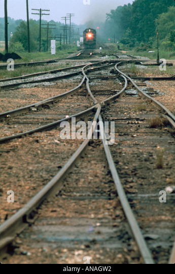 Arkansas Lewisville Cottonbelt Line train railroad tracks switch rail engine - Stock Image