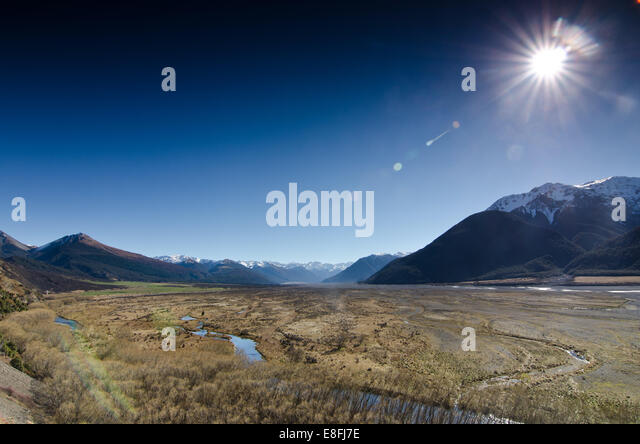 New Zealand, Canterbury, Arthur's Pass, Plains under sunlight - Stock Image