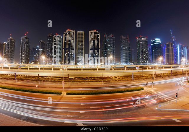 Sheikh Zayed Road by night, Dubai Marina, Dubai, United Arab Emirates, Middle East - Stock Image