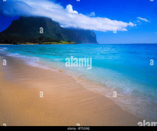 Salmon Beach and Mts. Gower & Lidgbird, Lord Howe Island, New South Wales, Australia, UNESCO World Heritage - Stock Image