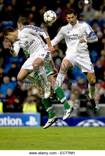 SPAIN, Madrid: Real Madrid's Mexican forward Javier Hernandez Chicharito and Portuguese forward Cristiano Ronaldo - Stock Image