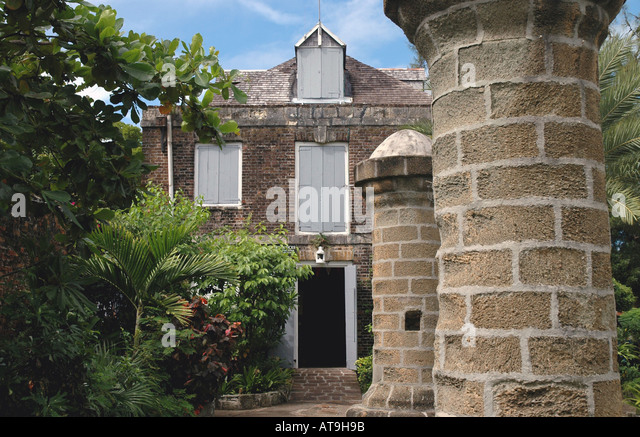 Antigua Admirals Inn hotel  Nelsons Dockyard National  Park  at English Harbour - Stock Image