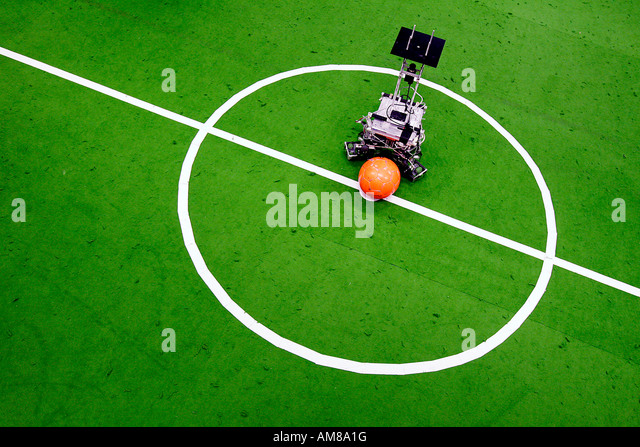 Football robot on a snap marking - Stock Image