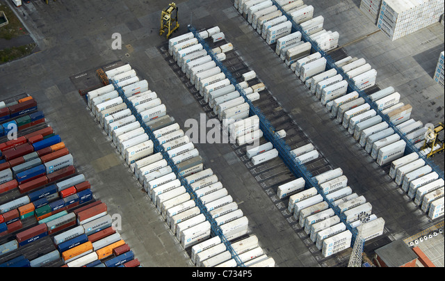 Containers at Tilbury Docks, South East England UK - Stock Image