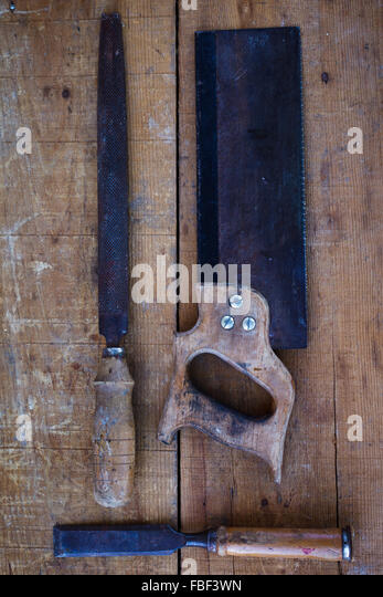 High Angle View Of Work Tools On Table - Stock Image