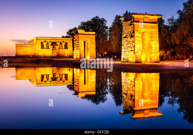 Madrid, Spain at the ancient Egyptian ruins of Temple Debod. - Stock-Bilder