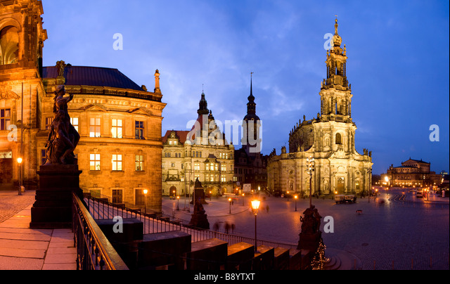 Hofkirche and The Semperoper Opera House Dresden Saxony Germany - Stock Image