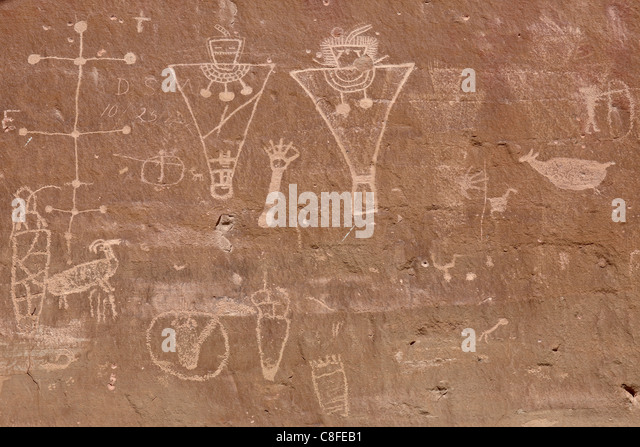 Petroglyphs from the Fremont Culture, Sego Canyon, Utah, United States of America - Stock-Bilder