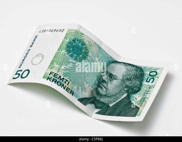 Detailansicht von 50 norwegischen Kronen | Detail photo of 50 Norwegian kroner - Stock-Bilder