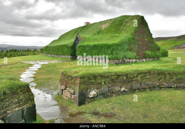 Historical Reconstruction of an Icelandic Turf Farm Iceland - Stock Image
