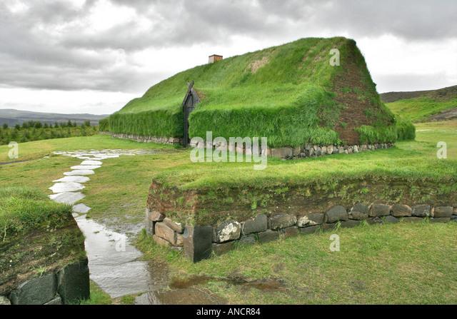Historical Reconstruction of an Icelandic Turf Farm Iceland - Stock Image