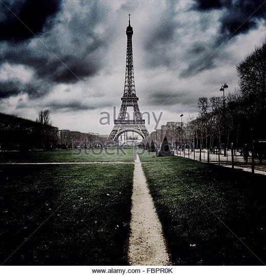 Surface Level Of Grassland With Eiffel Tower At Distance - Stock-Bilder