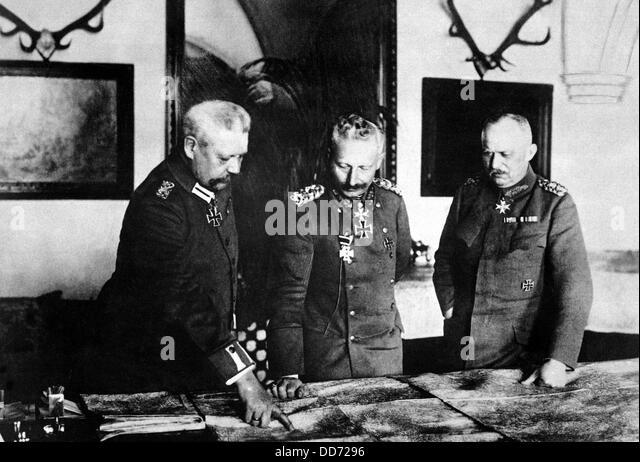 German General Headquarters. General von Hindenburg, Kaiser Wilhelm II, and General Ludendorff. World War I. January - Stock Image