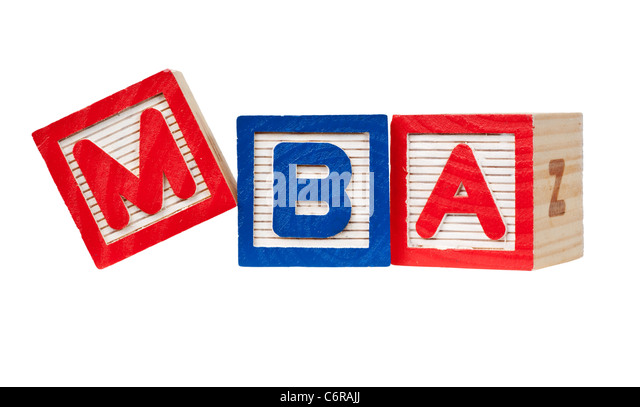 Wooden blocks forming the letters MBA isolated on white background - Stock Image