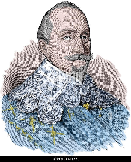 Gustavus Adolphus of Sweden (1594-1632). King of Sweden from 1611-1632. House of Vasa. Engraving, color. - Stock Image