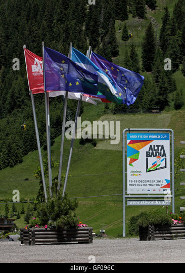 European and Alta Badia Flags, Corvara, Italy - Stock Image