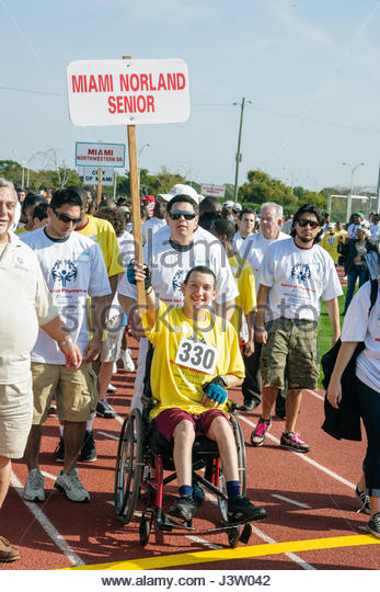 Miami Florida Miami Dade College North Campus Special Olympics disabled competition sports student athlete volunteer - Stock Image