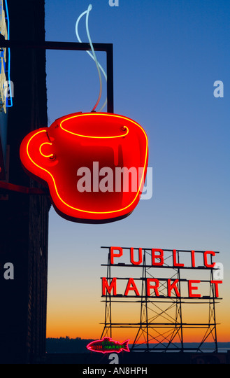 Neon sign near Pike Place Market in Seattle - Stock Image