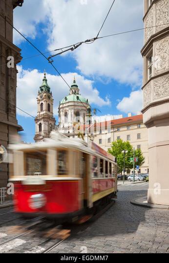 Tram leaving Malostranské náměstí, Malá Strana, Prague, Czech Republic - Stock Image
