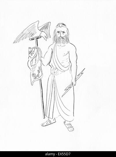 Line Drawing Of Zeus : God jupiter stock photos images alamy