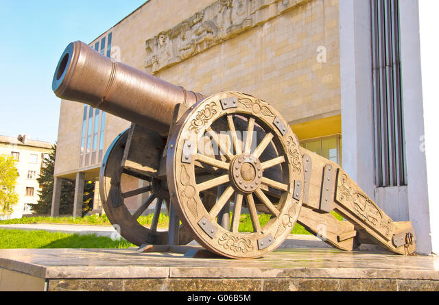 Old Russian cannon «Licorne» - Stock Image