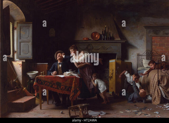 Home, Sweet Home. Artist: Saltini, Pietro (1839-1908) - Stock Image