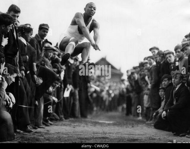 Jesse Owens (1913-1980), American athlete and winner of four gold medals in the 1936 Summer Olympics. Circa 1930s. - Stock Image