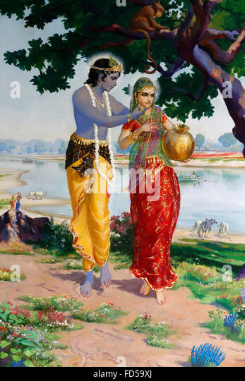 Religious painting at ISKCON : Krishna and Radha. - Stock Image