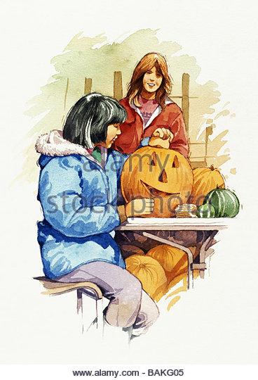 Girls Carving Pumpkins - Stock-Bilder