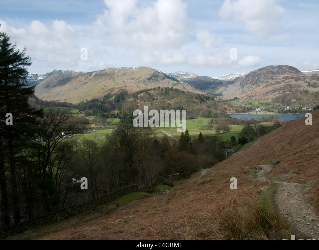 Glenridding and the head of Ullswater seen from a path up Place Fell - Stock Image