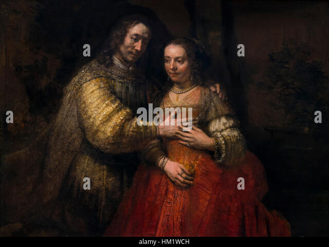 The Jewish Bride, Isaac and Rebecca, by Rembrandt, circa 1665-9, oil on canvas, Rijksmuseum, Amsterdam, Netherlands, - Stock Image