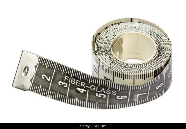 Flexible tape measure on a white background. - Stock Image