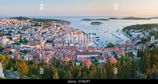 Hvar Town at sunset taken from the Spanish Fort (Fortica), Hvar Island, Dalmatian Coast, Adriatic, Croatia - Stock Image