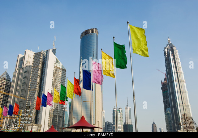 Skyscrapers and flags in pudong - Stock-Bilder