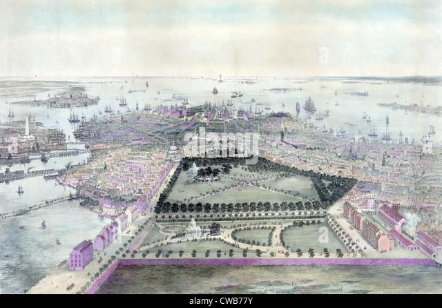 Boston. The City of Boston. color lithograph 1850. - Stock-Bilder