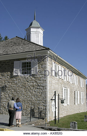 West Virginia Lewisburg Old Stone Church couple - Stock Image