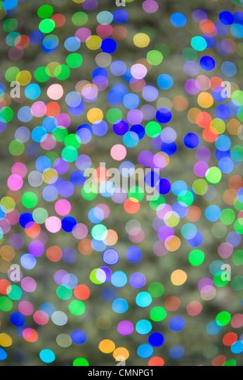 defocussed lights on a christmas tree - Stock Image